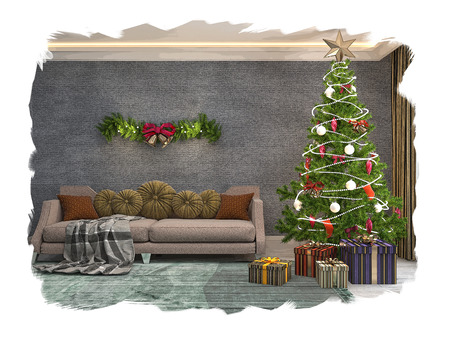 Christmas tree with decorations in the living room. Sketch. 3d Banco de Imagens