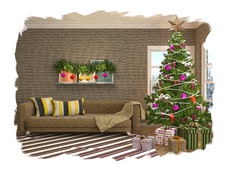 Christmas tree with decorations in the living room. Sketch. 3d Stock Photo