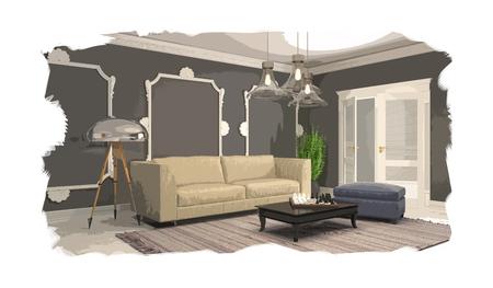 interior sketch design of living room. 3D