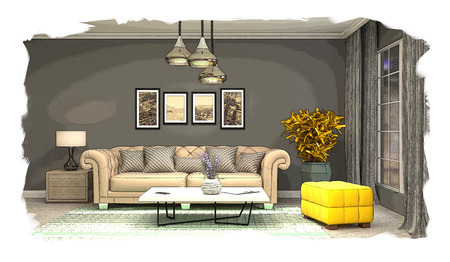 interior sketch design of living room. 3D
