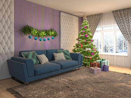 Christmas tree with decorations in the living room. 3d illustration Banco de Imagens