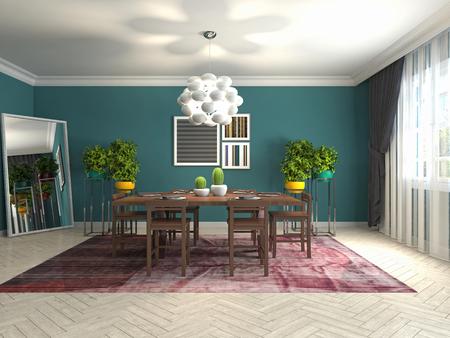Comedor interior. Ilustración 3d