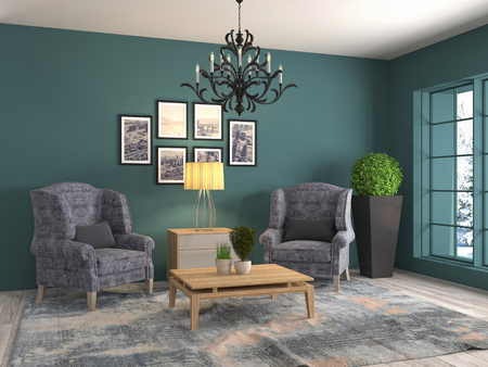 interior with chair. 3d illustration Stock Photo
