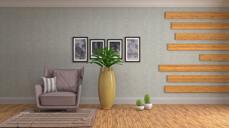 interior with chair. 3d illustration Banco de Imagens