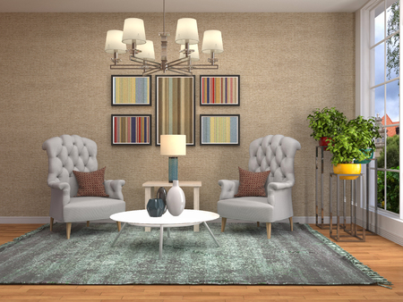 interior with chair. 3d illustration 版權商用圖片