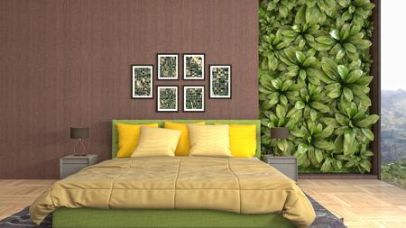 Bedroom interior. 3d illustration Reklamní fotografie - 121208088