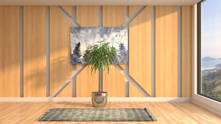Empty interior. 3d illustration