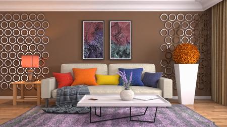Intérieur du salon. Illustration 3D