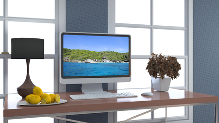 Computer on office table. 3d illustration