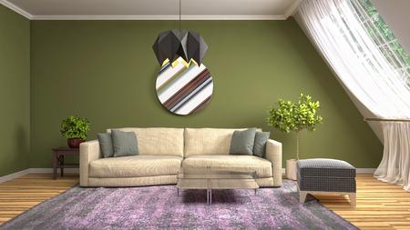 Interior of the living room. 3D illustration Reklamní fotografie - 121869610