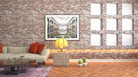 Interior of the living room. 3D illustration Reklamní fotografie - 121925989