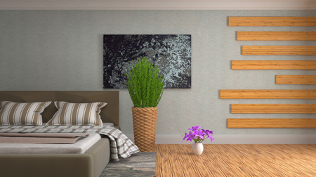 Bedroom interior. 3d illustration Reklamní fotografie - 121469956