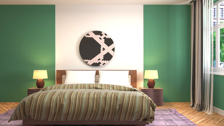 Bedroom interior. 3d illustration Reklamní fotografie - 121500297
