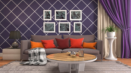 Interior of the living room. 3D illustration Reklamní fotografie - 121503071