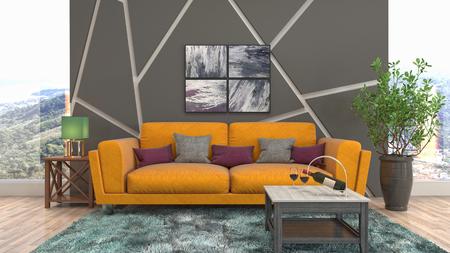 Interior of the living room. 3D illustration Reklamní fotografie - 121503120