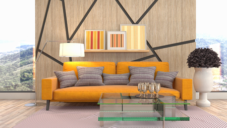 Interior of the living room. 3D illustration Reklamní fotografie - 121504804