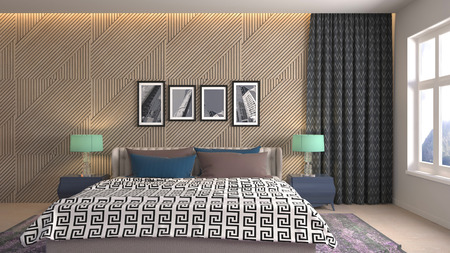 Bedroom interior. 3d illustration Reklamní fotografie - 121504807