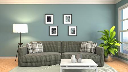 Interieur van de woonkamer. 3D illustratie