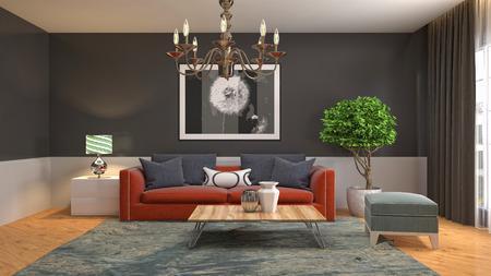 Innenraum des Wohnzimmers. 3D-Illustration Standard-Bild