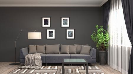 Interior of the living room. 3D illustration Reklamní fotografie - 122521201