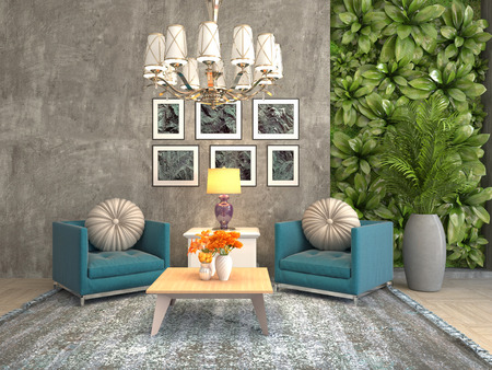 interior with chair. 3d illustration 版權商用圖片 - 122531158