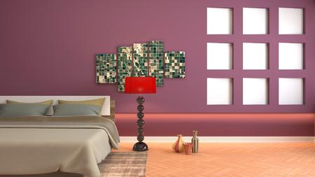 Bedroom interior. 3d illustration Reklamní fotografie - 121624657