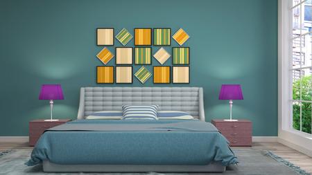 Bedroom interior. 3d illustration Reklamní fotografie - 122531692