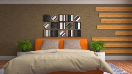Bedroom interior. 3d illustration Reklamní fotografie - 121625102