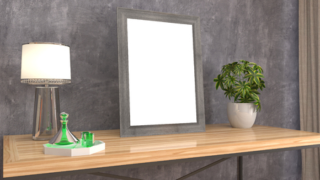 Blank picture on the table. 3d illustration Stockfoto