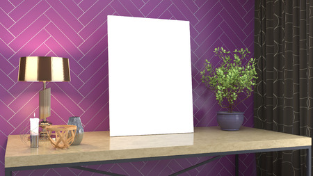 Blank picture on the table. 3d illustration Stockfoto - 123235914