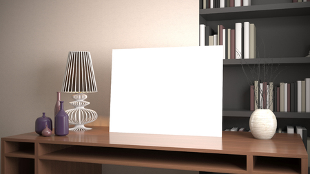 Blank picture on the table. 3d illustration 版權商用圖片