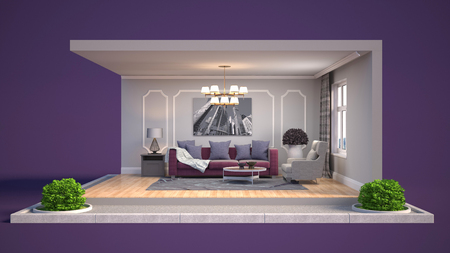 Interior of the living room in a box. 3D illustration Фото со стока - 124997697