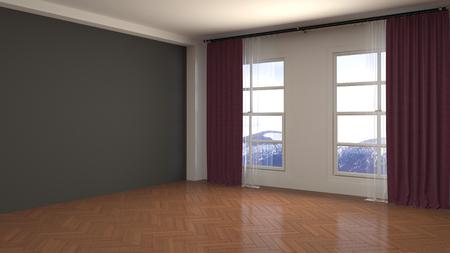 Leerer Innenraum. 3D-Darstellung