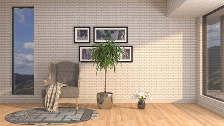 interior with chair. 3d illustration Reklamní fotografie