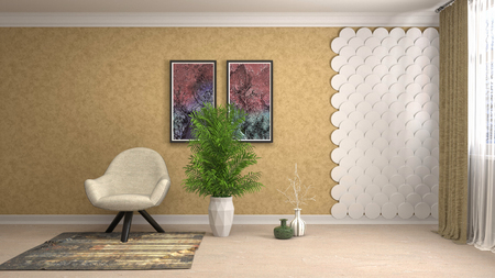 interior with chair. 3d illustration Imagens