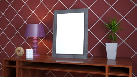 Blank picture on the table. 3d illustration Reklamní fotografie
