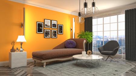 Interior del salón. Ilustración 3D Foto de archivo