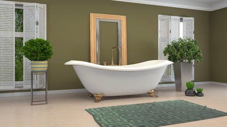 Intérieur de la salle de bain. illustration 3D. Une baignoire.