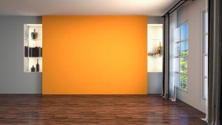 Interior vacío con ventana. Ilustración 3D. Foto de archivo