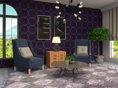 interior with chair. 3d illustration. Stok Fotoğraf - 124995436