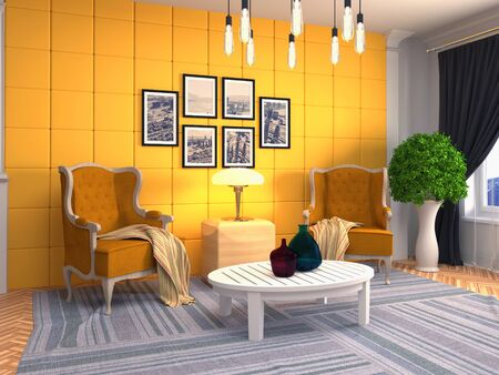 interior with chair. 3d illustration.