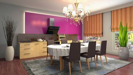 Interior dining area. 3d illustration. Stok Fotoğraf - 124995444