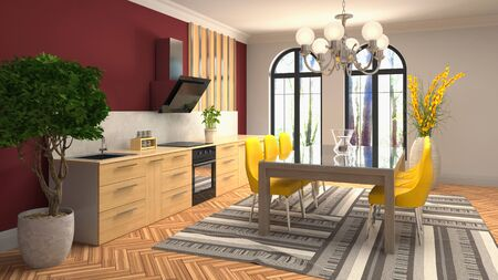 Interior dining area. 3d illustration. Stok Fotoğraf - 124995448