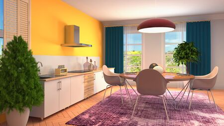 Interior dining area. 3d illustration. Stok Fotoğraf - 124995450
