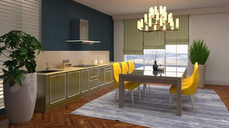 Interior dining area. 3d illustration. Stok Fotoğraf - 124995452