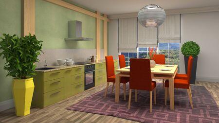 Interior dining area. 3d illustration. Standard-Bild - 124995454