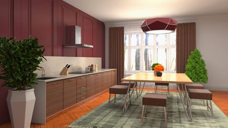 Interior dining area. 3d illustration. Stok Fotoğraf - 124995456