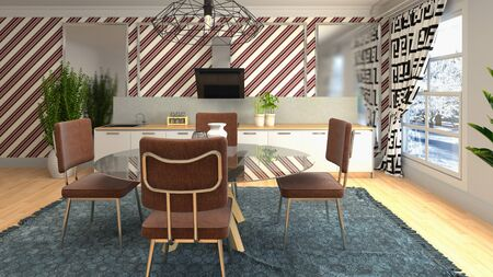 Interior dining area. 3d illustration. Standard-Bild - 124995460
