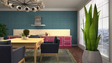 Interior dining area. 3d illustration. Standard-Bild - 124995464
