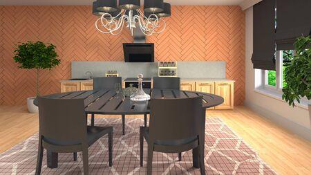 Interior dining area. 3d illustration. Standard-Bild - 124995466